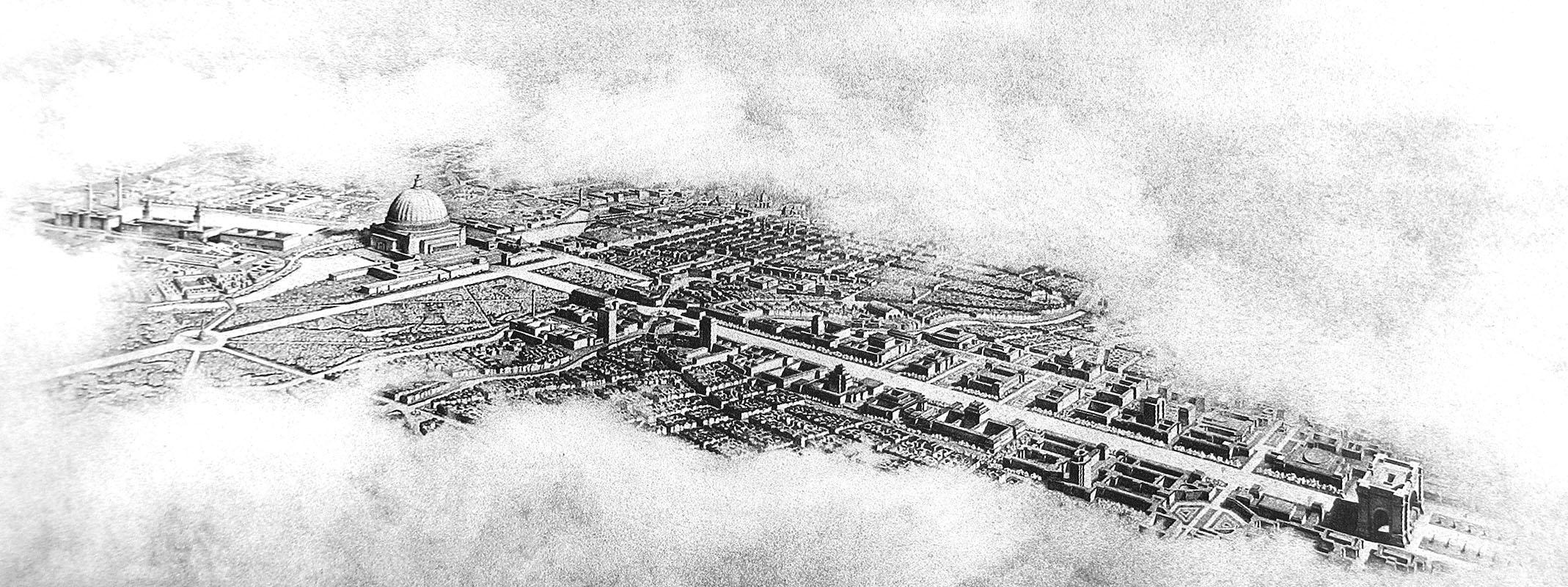 Schaubild der Nord-Süd- und Ost-West-Achse, um 1939, Albert Speer